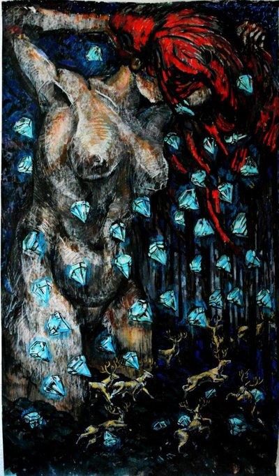 ArtHit Artwork Woman Kills Deers Diamonds Falling From Her Hair - Painting that kills you
